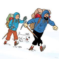 1961 – M'en vais lui montrer, moi, à cet épouvantail, de quel bois je me chauffe ! • I'll show him, the scarecrow, the sort of stuff Haddock made of ! Dessin de couverture de l'album à colorier n°6 d'après une case de « Tintin au Tibet ». #tintin #herge
