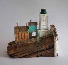 Driftwood cottages with lighthouse. Double sided (Display from either side) | Home, Furniture & DIY, Home Decor, Decorative Ornaments & Figures | eBay!