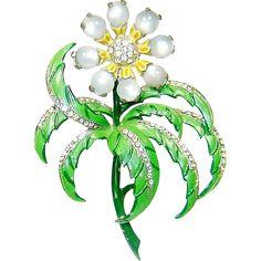 Vintage Chanel Novelty Brooch Enamel Moonstone Flower Book Piece   offered by Rubylane shop  The Vintage Carousel