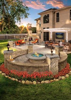 Would you enjoy this outdoor living space in your backyard? Pergolas and fire pi… Would you enjoy this outdoor living space in your backyard? Pergolas and fire pits from Cambridge pavers provide the best designs for relaxation. Backyard Patio Designs, Backyard Pergola, Fire Pit Backyard, Backyard Landscaping, Landscaping Ideas, Backyard Ideas, Outdoor Decking, Pergola Kits, Diy Patio