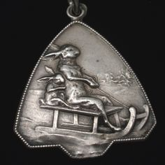 Antique German Silver Charm Pair of Rabbits on Toboggan Sled Very Detailed | eBay