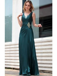 Dark Green Off Shoulder Ruffle V-neck Beaded Party Prom Ball Gown Evening Dress - Merpher.L