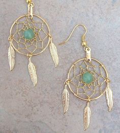 DREAMIN in GOLD and GREEN Aventurine Large by SerenityJewelry Materials: earwire, jump rings, hoops, aventurine, thread, feathers