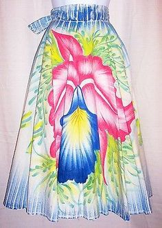 Vintage-50s-Novelty-Mexican-ORCHID-FLORAL-HAND-PAINTED-CIRCLE-SKIRT-Near-Mint