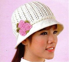 White Hat with Pink Flower free crochet graph pattern