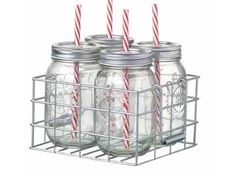 Jars with straws in wire basket FREE UK DELIVERY