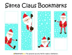 free printable santa claus bookmarks for christmas download the pdf template at http