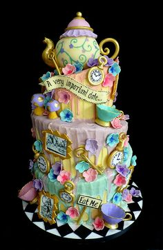 Image result for alice in wonderland wedding cakes