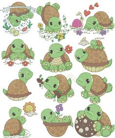 Cute Turtles, Baby Turtles, Cute Animal Drawings, Cute Drawings, Cute Turtle Drawings, Turtle Images, Tortoise Turtle, Turtle Love, Rock Crafts