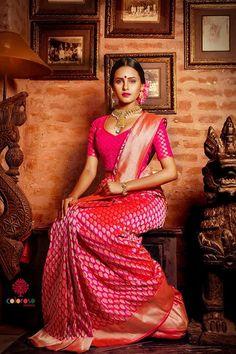 South Indian bride. Temple jewelry. Jhumkis.Red silk kanchipuram sarees.Braid with fresh flowers.Tamil bride. Telugu bride. Kannada bride. Hindu bride. Malayalee bride.Kerala bride.South Indian wedding.