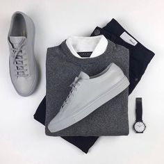 visit our website for the latest men's fashion trends products and tips . Stylish Men, Men Casual, Stylish Clothes, Men's Casual Outfits, Casual Styles, Sweat Gris, Style Masculin, Herren Outfit, Outfit Grid