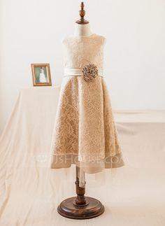 [US$ 53.99] A-Line/Princess Tea-length Flower Girl Dress - Satin/Lace Sleeveless Scoop Neck With Flower(s) (010104994)
