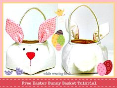 A Free Easter Bunny Basket Sewing Tutorial by Amy of While Wearing Heels Bag Patterns To Sew, Craft Patterns, Sewing Patterns Free, Free Sewing, Sewing Tutorials, Sewing Projects, Free Tutorials, Quilting Patterns, Video Tutorials