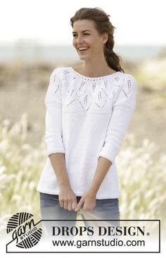"""Knitted DROPS jumper with leaf pattern, ridges and round yoke, worked top down in """"Muskat"""". Free Pattern"""