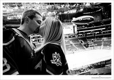 Engagement photo session @Staples Center - LA Kings Blimp -repinned from LA County, California wedding officiant https://OfficiantGuy.com #laweddings #losangelesofficiant