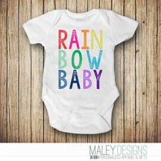 Rainbow Baby Announcement Onesie® - Rainbow Baby Shower Gift - Rainbow Baby Outfit - Pregnancy After Loss - Miracle Baby by MaleyDesigns on Etsy https://www.etsy.com/listing/241359068/rainbow-baby-announcement-onesie-rainbow