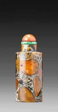 A CYLINDRICAL PUDDINGSTONE SNUFF BOTTLE<br>QING DYNASTY, 18TH / 19TH CENTURY | lot | Sotheby's