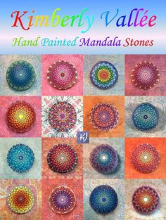 Kimberly Vallee Mandala Stones. Hello my friends! I'm Kimberly (Kim) Vallee. Thank you all so much for liking and sharing my Mandala Stones. I've received much positive feedback, and I can't tell you how much it warms my heart. This image is a small collection of my Mandala Stones. Click on it to go to my Etsy Shop. There you can read about me, maybe get one for yourself, or simply browse if you like. Either way, thanks for stopping by. I'll leave the light on for you. Peace & Love, Kim :-)