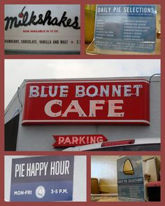 Blue Bonnet Café | #Marble #Falls Texas. Known for its #pie happy hour, the restaurant has been around since 1929.