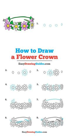 Learn to draw a Flower Crown. This step-by-step tutorial makes it easy. Kids and beginners alike can now draw flower crown.