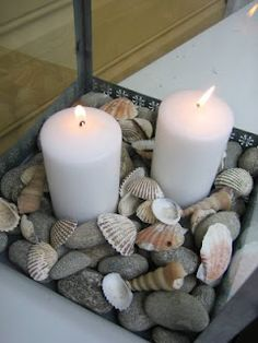so simple! beach shells candles