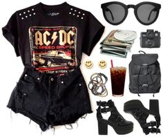 A fashion look from May 2014 featuring studded top, short heel boots and bucket backpack. Browse and shop related looks. Cute Comfy Outfits, Pretty Outfits, Cool Outfits, Casual Outfits, Band Outfits, Summer Outfits, Aries Outfits, Cute Fashion, Fashion Outfits