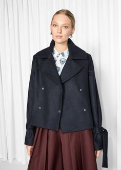 & Other Stories image 1 of Tailored Pea-Coat in Blue Reddish Dark