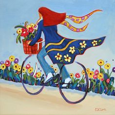 whimsical painting of a woman on a bicycle by Carolee Clark