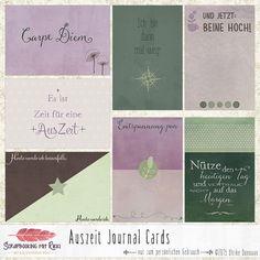 Digitale Downloads - Auszeit Scrapbook 4x6 Journaling Karten  - ein Designerstück von Rikki_Donovan bei DaWanda