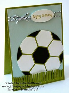 Julie Kettlewell - Stampin Up UK Independent Demonstrator - Order products Football Card Birthday Cards For Boys, Bday Cards, Handmade Birthday Cards, Soccer Cards, Football Cards, Hexagon Cards, Karten Diy, Masculine Cards, Custom Cards