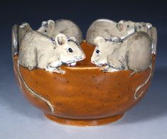 Hand Painted Pottery with Animal and Dog Art by Nan Hamilton Boston MA Stoneware Mugs, Ceramic Bowls, Ceramic Pottery, Pottery Art, Ceramic Art, Pottery Ideas, Hand Painted Pottery, Painted Pots, Pottery Painting