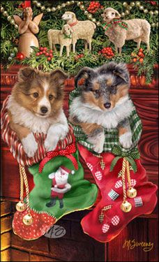"Sheltie Christmas Holiday Cards are 8 1/2"" x 5 1/2"" and come in packages of 12 cards. One design per package. All designs include envelopes, your personal message, and choice of greeting. Select the greeting of your choice from the drop-down menu above. Add your personal message to the Comments box during checkout."