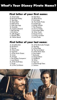 """What's Your Disney Pirate Name? ~ Mine's """"Great Lake Norrington"""""""