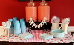 shabby chic first birthday party, pink lemonade table