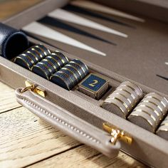 Slate & Navy Leather Challenge Size Backgammon Board with Gold Hardwar...