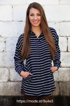 Check out Business As Usual Oversized Button Up {Navy} at The Rage