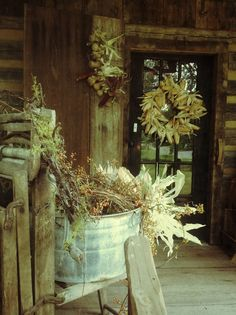 fall porch with old wash tub wringer stand
