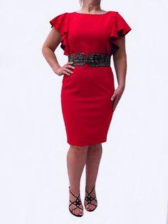 Calvin Klein Dress, Snakeskin Belt Flutter Sleeve Sheath -Calvin Klein-Dresses-Snakeskin Belt-Flutter Sleeve Sheath at Megavybor.com [RB189CK] - $79.00