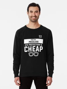 """""""Use of Eye Protection Glasses Safety Campaign Slogan Gift. Health & Safety designs OSHA, HSE, IOSH campaign wear."""" Lightweight Sweatshirt by Mugambo 