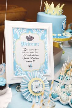 "I Love seeing my designs on the web! Petite Social did an amazing job with the ""Royaly Sweet Prince Collection"" when she styled this sweet little party! Check it out here on Hostess with the Mostess"