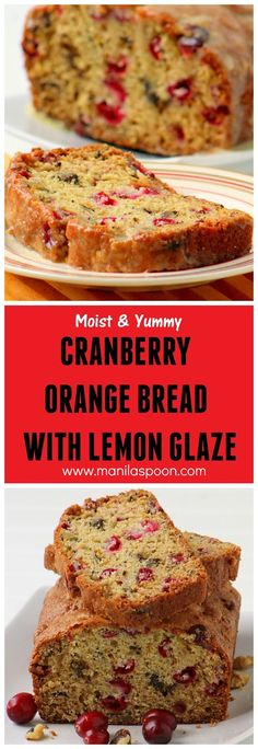 Bursting with cranberry and orange flavors and studded with pecans, this Cranberry Orange Bread with Lemon Glaze is not only pretty it is totally scrumptious! Quick and easy to make and freezable, too. Perfect as a Christmas or holiday gift. | manilaspoon.com