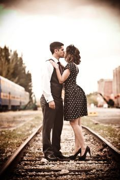 Engaged: Maritza & Kevin at the Gold Coast Railroad Museum Vintage train engagement session by PS Photography Photographie Vintage Couple, Vintage Couple Photography, Photography Photos, Engagement Photography, Wedding Photography, Photography Couples, Couples Vintage, Vintage Engagement Photos, Engagement Pictures