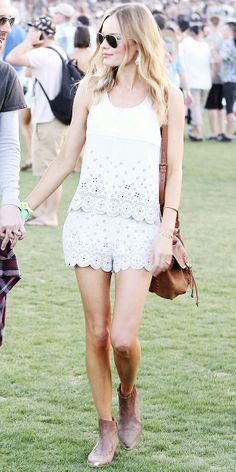Kate Bosworth boho chic at the Coachella music festival in Topshop top & shorts