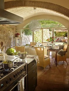 Home sweet home Bright Kitchens, Home Kitchens, Dining Area, Kitchen Dining, Cozy Kitchen, Stone Kitchen, Outdoor Dining, Indoor Outdoor, Sweet Home