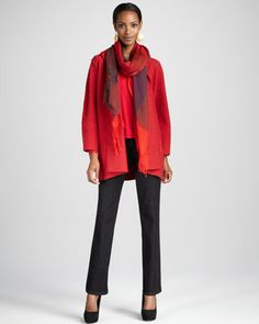 Eileen Fisher Lightweight Boiled Wool Coat, Ombre Maxi-Check Scarf & Organic Straight-Leg Jeans - Neiman Marcus