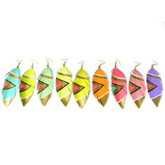 Fun feather earrings!   Neon Aztec  3 inch Faux Leather Feather by lovesexton