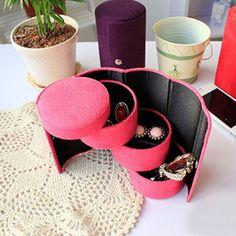 Nova chegada caixa de jóias de mulheres flanela três camadas rodada portátil Multi-Function Lady feminino caixas do organizador de armazenamento de jóias 1 Pcs