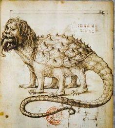 Scuola Francese, Un Tarasco, mitologico dragone di Provenza. Carboncito su carta. 1511.