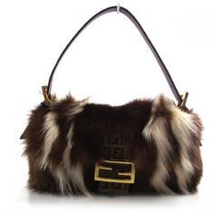 FENDI Striped Skunk Fur Baguette Handbag.