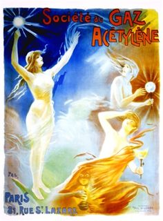 Societe du Gaz Acetylene by Pal 1898 France - Vintage Poster Reproduction. This vertical french product poster features wind blown women appearing from the clouds with gas lamps against a blue and orange sky. Vintage Advertising Posters, Print Advertising, Vintage Advertisements, Vintage Posters, Product Poster, Product Ads, Orange Sky, French Art, Vintage Toys